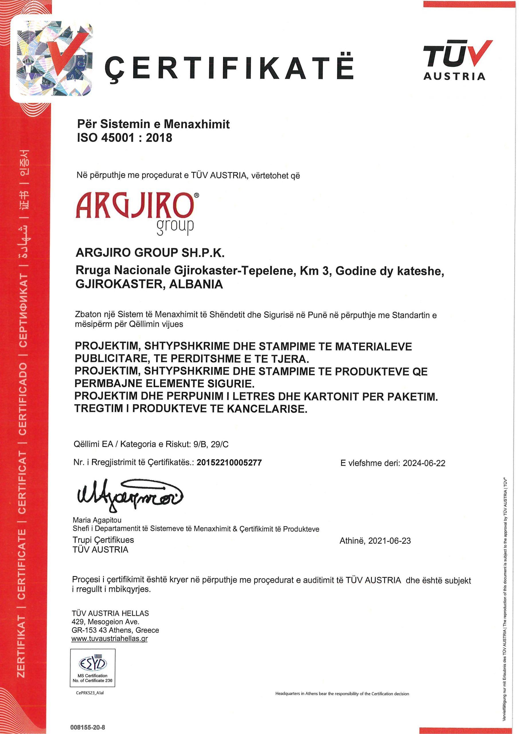 Argjiro GROUP- Certifikata TUV ISO 45001 AL