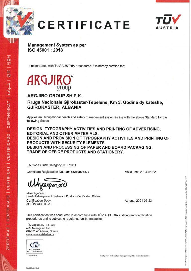 Argjiro GROUP- Certifikata TUV ISO 45001 EN