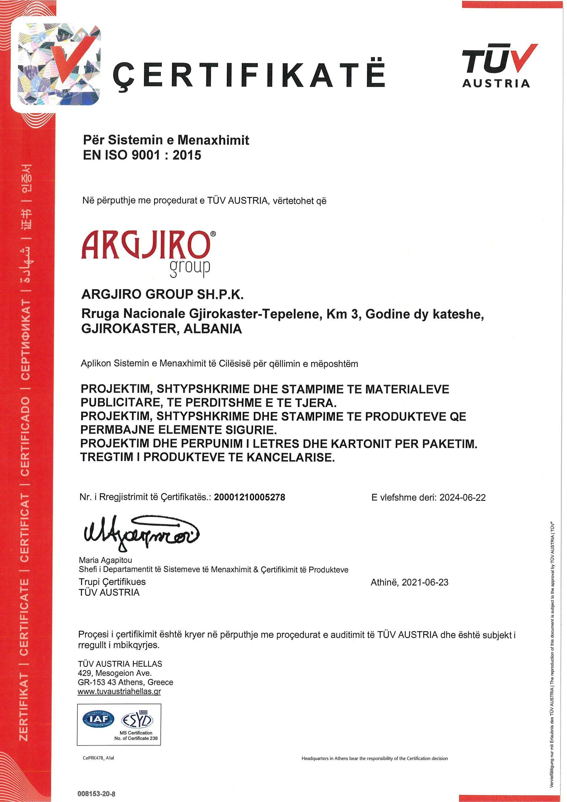 Argjiro GROUP- Certifikata TUV EN ISO 9001 AL