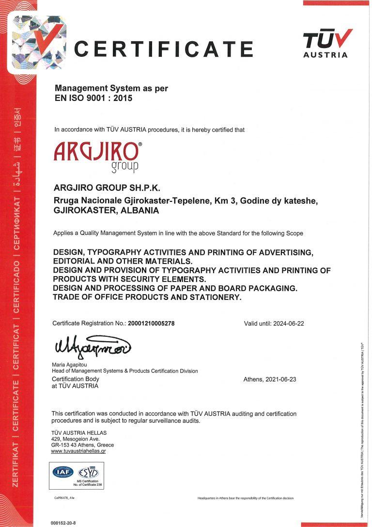 Argjiro GROUP- Certifikata TUV EN ISO 9001 EN